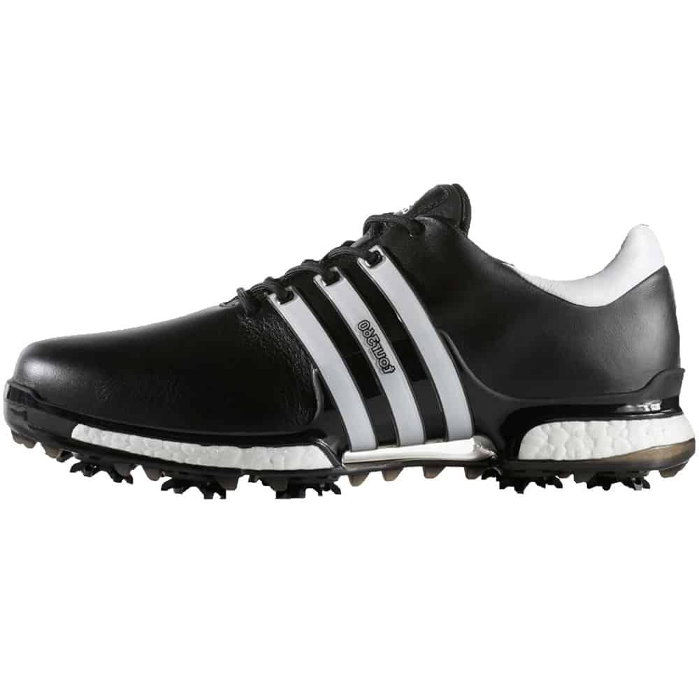 ADIDAS TOUR 360 BOOST 2.0 WATERPROOF LEATHER GOLF SHOES – CORE BLACK   WHITE 37e9907dd