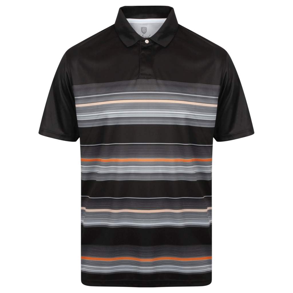 d63ebac734 ISLAND GREEN CoolPass® MICRO BODY STRIPE GOLF POLO SHIRT - BLACK ...