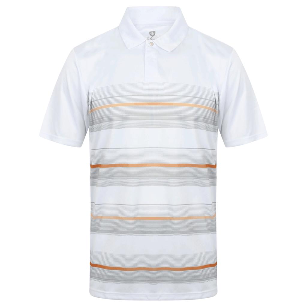 Island Green Coolpass Micro Body Stripe Golf Polo Shirt White