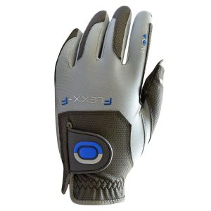 ZOOM FLEXX-FIT ONE SIZE FITS ALL MENS PREMIUM GOLF GLOVE CHARCOAL / SILVER / BLUE