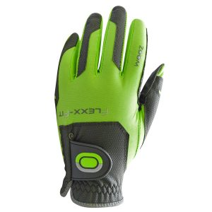 ZOOM FLEXX-FIT ONE SIZE FITS ALL MENS PREMIUM GOLF GLOVE CHARCOAL / LIME