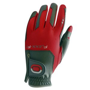 ZOOM FLEXX-FIT ONE SIZE FITS ALL MENS PREMIUM GOLF GLOVE CHARCOAL / RED