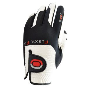 ZOOM FLEXX-FIT ONE SIZE FITS ALL MENS PREMIUM GOLF GLOVE WHITE / RED