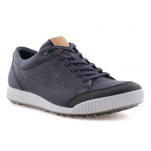 ECCO STREET RETRO LEATHER SPIKELESS GOLF SHOES / MARINE BLUE