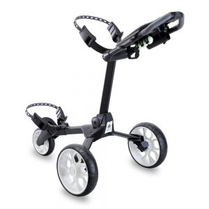 STEWART R1-S 3 WHEEL GOLF PUSH TROLLEY – BLACK / WHITE