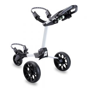 STEWART R1-S 3 WHEEL GOLF PUSH TROLLEY – WHITE / BLACK