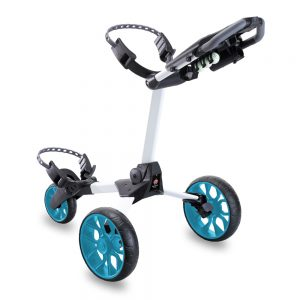 STEWART R1-S 3 WHEEL GOLF PUSH TROLLEY – WHITE / BLUE